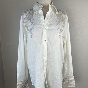 7 Diamonds White Button Designer Down Shirt EUC